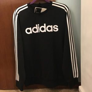 Adidas black three stripes sweatshirt
